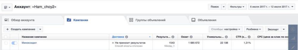 КЕЙС: льем с таргета Instagram на Minoxidil (468.039)