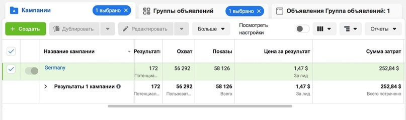 КЕЙС: ЛЬЕМ С ТАРГЕТА FACEBOOK НА REDUSLIM ПО ГЕРМАНИИ (9.971$)